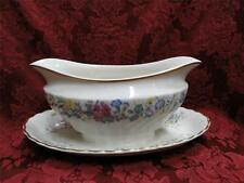 Syracuse Lilac Rose, Multicolored Floral Rim: Gravy Boat w/ Attached Plate