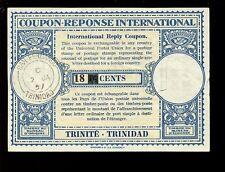 TRINIDAD 1957 IRC REPLY PAID COUPON 18c on 16c REVALUED