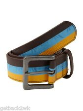 NEW* QUIKSILVER SURF BELT VEGAN MENS XL 38 Stripes Filter Blue Brown