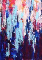 """ART, TABLEAU ABSTRAIT PEINTURE PAYSAGE, original signé HZEN """"LA VILLE"""" 33X46 cm"""