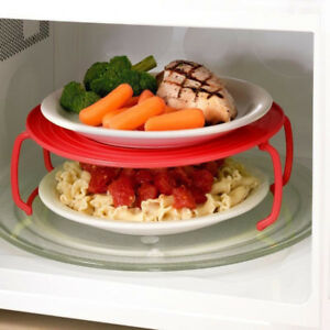 Microwave Oven Shelf Double Insulated Heating Tray Rack Bowls Holder Organizer