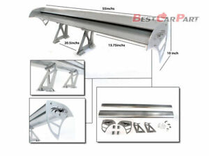 "Rtunes 55"" Type S Universal Aluminum GT Double Deck Spoiler Wing SILVER Chevy"