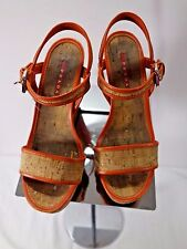 Prada ORANGE leather, cork, platform, wedge sandals/shoes size 7 1/2