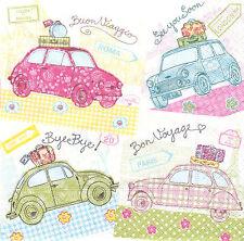 2 Serviettes en papier Voyage Voiture Decoupage Paper Napkins Cars