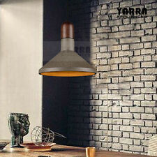 1LT Retro Concrete Pendant Light Wood Timer Ceiling Fixture 2M Cord Matt Black