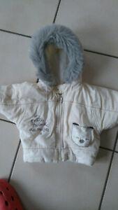 Baby Winterjacke Gr. 60/62 creme Feincord, wattiert