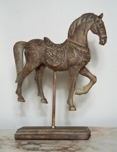 Carved Wood Effect Tang Horse in Antique StyleDecorative Ornament Figurine