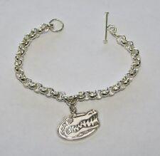 """Sterling 6 3/4"""" Rolo Bracelet W/LogoArt Florida Gators Charm, 11.41 Grams, #R315"""