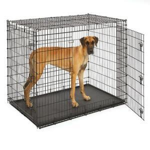 54 Inch Dog Crate for XXL Pet Double Door Heavy Duty Metal Slide Bolt Latches