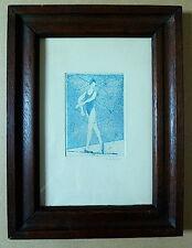 GRAVURE ESTAMPE AQUATINTE MONOCHROME BLEU DANSE ART DECO signé P HODE 1923 XX