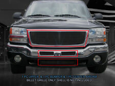 Black Billet Grille Front Grill Combo Fits 2003-2006 GMC Sierra 1500 2500 3500
