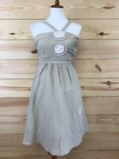 BCBG Girls Womens Dress Sz XS Beige Strappy Rayon Blend Lined Bare Shoulder B79
