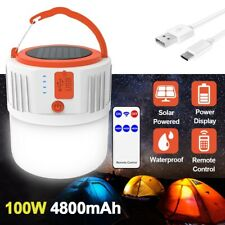 Outdoor Solar LED Camping Lantern Hiking Tent Light USB Rechargeable Waterproof