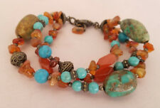 Carnelian Real and Faux Turquoise Bead Silver Tone Multistrand Bracelet Tribal