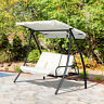 3 Seater Patio Swing Chair Garden Hammock Cushioned Seat Outdoor Porch Cream