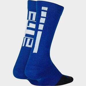 NIKE ELITE PRO BOYS KIDS DRIFIT SOCKS ROYAL BLUE CREW 7C-10C NEW 2 PAIR 2PR NBA