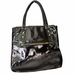 J Crew Black Patent Leather Tote Bag