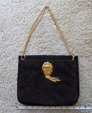 1972 Harry Rosenfeld Suede Brown/Black Two-piece Cherub Decor Handbag