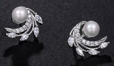 6mm Pearl Cluster White Gold Plated Stud CRYSTAL EARRINGS UK Gift Box