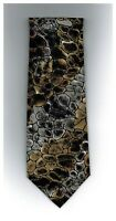"Enrico Coveri Mens Tie Abstract Gray Tan Red Silk 56"" x 3.75"" Made In Italy New"