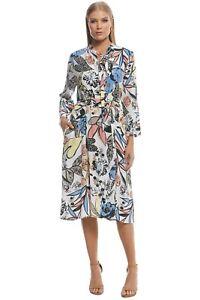 Pre Loved Scanlan Theodore CDC Leaf Print Dress Size 8
