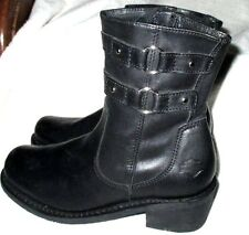 "Nice ~  **HARLEY DAVIDSON**  Black Leather Ankle Boots, 2"" Block Heel, 6.5 M"