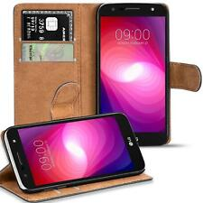 Handy Hülle LG X Power 2 Case Schutz Tasche Cover Basic Flip Schwarz Bookcase