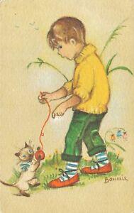 Artist Signed Boy With Kitten Cat Postcard B44