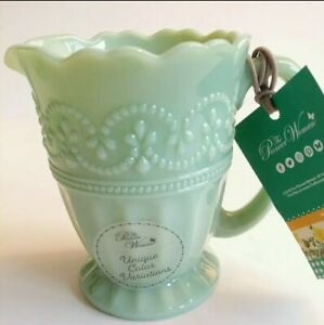 Rare ~PIONEER WOMAN Creamer Timeless Beauty Green Milk Glass Scalloped Ribbed