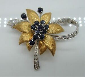 A Beautiful Solid 18ct Gold Sapphire & Diamond Floral Brooch