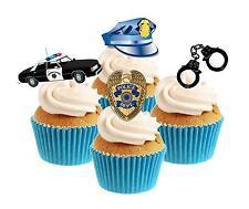 Novità American Police MIX 12 commestibili alzarsi CARTA WAFER DECORAZIONI PER TORTA PARTY