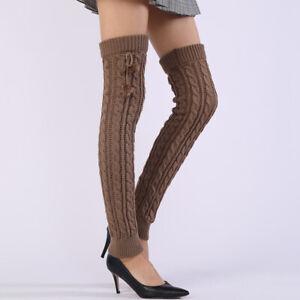 Women Winter Knitted Over Knee Thigh High Long Boot Socks Leg Warm Stocking CH