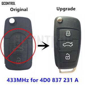 Upgrade Car Remote Control Key Fob for AUDI A3 A4 A6 A8 RS4 TT Allroad Quttro