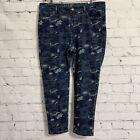 Soft Surroundings Women's Jeans PXL 18P Blue Camo Stretch Cotton New