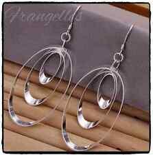925 Sterling Silver 3 Oval Hoop Triple Drop Dangle Hook Earrings Gift