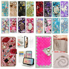 Bling leather Phone Cases + 2 Glass Screen Protector films + Crystals lanyard S
