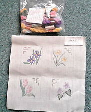 Hand Painted Needlepoint Canvas flowers Featheridge
