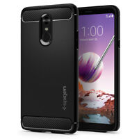 LG Stylo 4 | Spigen® [Rugged Armor] Black Slim Hybrid TPU Shockproof Cover Case