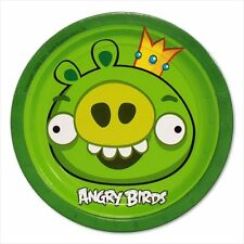 ANGRY BIRDS SMALL PAPER PLATES (8) ~ Birthday Party Supplies Cake Dessert Green