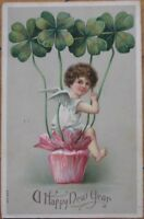 1910 Embossed Litho New Year Postcard: Cherub/Shamrocks