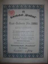 Kuxschein: Gewerkschaft Wendland   Hannover  1905  Kali - Chemie
