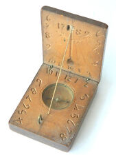 ca.1789 Carved WOODEN COMPASS w/ SOLAR CLOCK Authentic Antique Pocket Compass