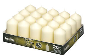 Bolsius Pack of 20 Ivory Pillar Church Candle 98mm x 48mm