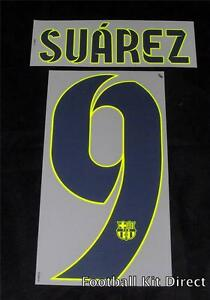 Barcelona Suarez 9 2014-15 Football Shirt Name/Number Set Away Player Size