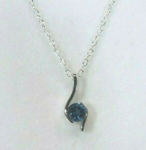 0.60 ct Genuine London Blue Topaz Solid Sterling Silver Italian Necklace