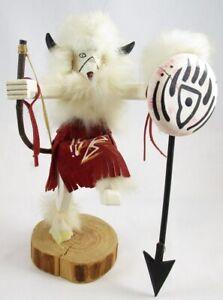 "Bear Hunter 9.25"" Kachina Doll Handmade Native American, Signed"