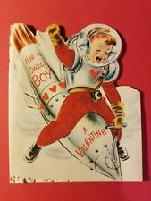 Vintage 1940-50's Valentine - Norcross - Boy on a Space Ship Rocket - Felt Unifo