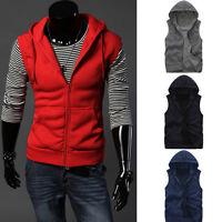 Sports Mens Casual Slim Sleeveless Zipper Hooded Gym Hoodies Vest Coat Waistcoat