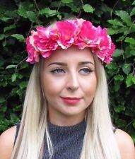 Fuchsia Pivoine Fleur Rose Bandeau Guirlande De Fleurs Cheveux Couronne Festival