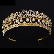 5cm High Gold Large Pearl Crystal Wedding Bridal Party Pageant Prom Tiara Crown
